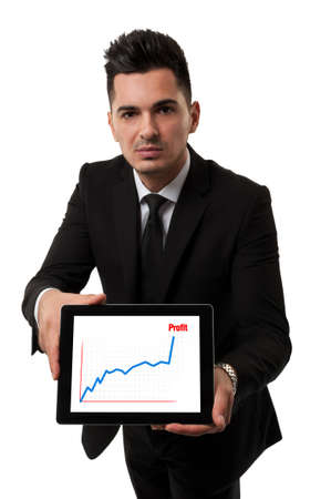 Handsome businessman showing a profit chart Reklamní fotografie