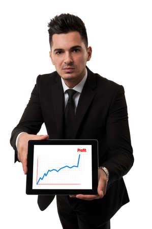Handsome businessman showing a profit chart Standard-Bild