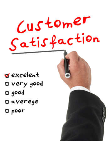 Businessman filling a customer satisfaction form photo
