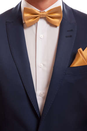 Close up shot with blue suit, golden bow tie and handkerchief