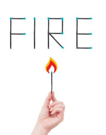 match head: Hand holding a burning match and word fire written with matches  Fire hazard concept isolated on white background