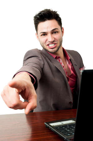 ferm: Angry manager fires an employee with a ferm attitude and sends him out. Get out! You are fired!