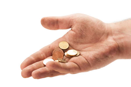 Dirty homeless man hand with some change. Beggar hand concept on white background photo