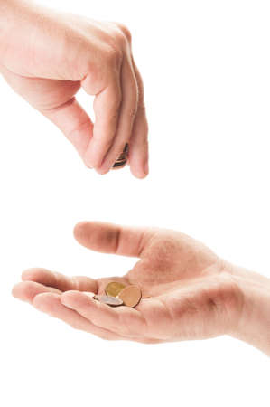 Dirty homeless beggar hand receiving coins.  Begging concept on white background Stock Photo