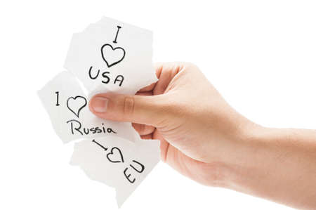 I love USA, European Union and Russia concept using paper tickets on white background photo