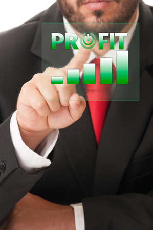 activate: Business man click button to activate profit chart or bars on a high tech touch screen. Stock Photo