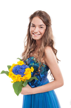 female model: Happy smiling female model with a bouquet of flowers isolated on white background Stock Photo