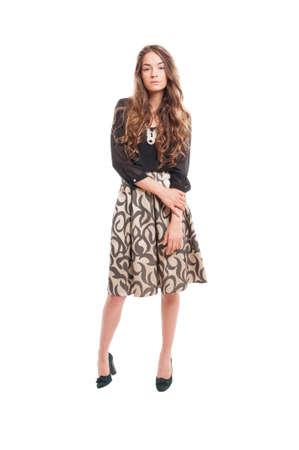 female model: Female model with beautiful long hair posing on white studio background