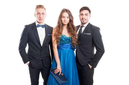 modelos hombres: Concepto de moda elegante usando una hermosa mujer y dos modelos masculinos