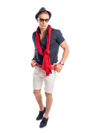 summer clothes: Male model wearing fancy and casual summer clothes with hat and sunglasses