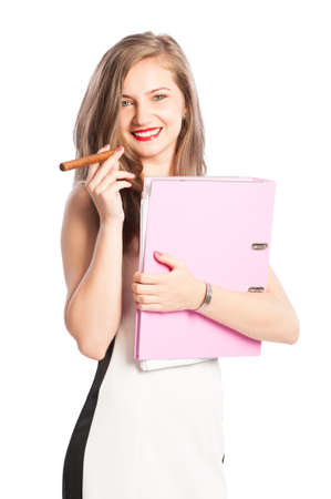 Sexy blonde secretary holding files portfolio and a cuban cigar and smiling photo