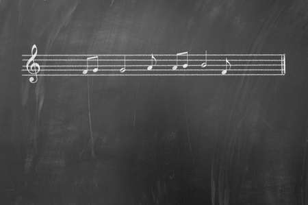 portative: Music portative with G clef drawn with white chalk on blackboard Stock Photo