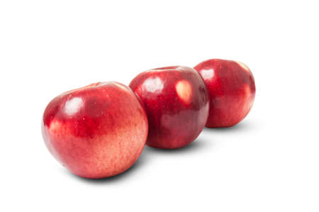 winesap apple: Shiny red autumn apples isolated on white background