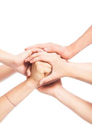 manos unidas: Manos unidas en el fondo blanco Foto de archivo