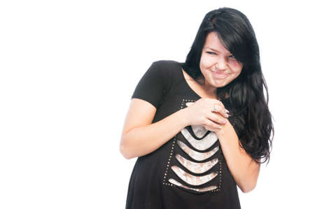 Sneaky and bully teen girl rubbing hands together isolated on white background
