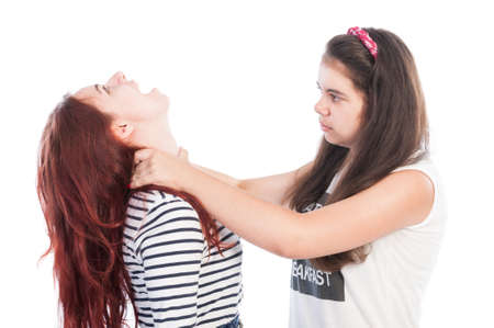 Aggressive bullying girl strangling her friend