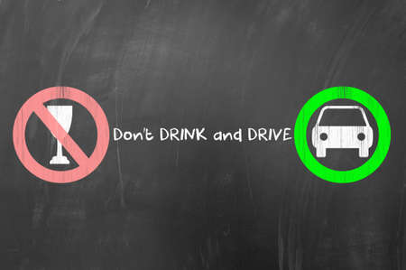 do not: Do not drink and drive concept drawn on blackboard. Stock Photo