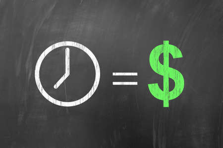 sign equals: Time is money, american concept using dollar symbol on blackboard Stock Photo