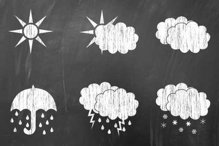 lightening: Weather symbols collection on blackboard