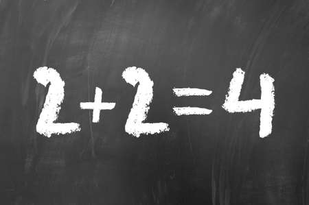 equals: 2 plus 2 equals 4 simple math problem solved on a school blackboard