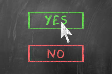 chose: Chose yes or no with the mouse arrow on blackboard