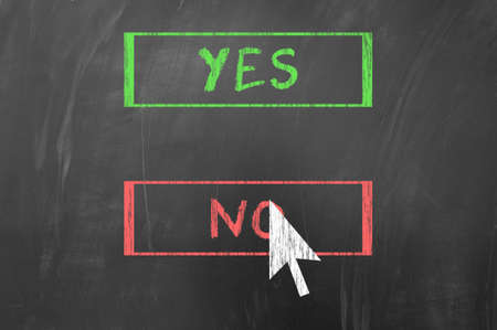 Yes or No concept using mouse pointing arrow on blackboard photo