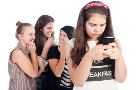 Mean and bullying teen girls on white background