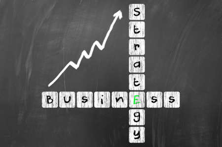 business strategy: Business strategy concept on blackboard Stock Photo