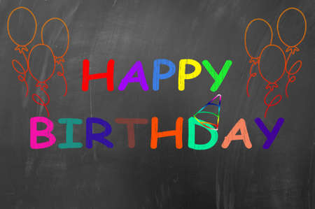 Happy birthday concept made with colored chalk on blackboard photo