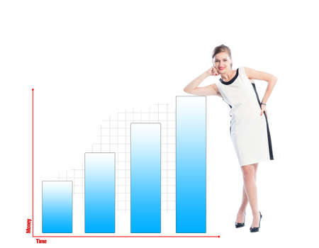 analyst: Successful business woman resting on a financial chart isolated on white background