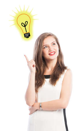 brillant: Business woman having a great idea concept on white background Stock Photo