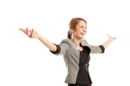 Successful and happy business woman concept with one female model holding her arms up photo