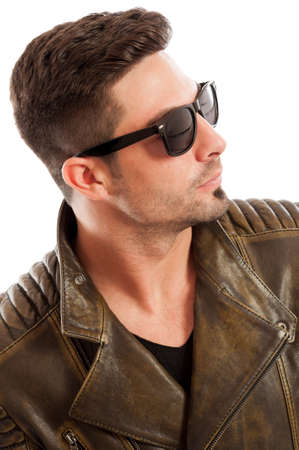 bad color: Handsome man wearing leather jacket and sunglasses on white background
