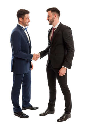 Elegant business men shaking hands and smiling. Successful cooperation concept on white studio background photo