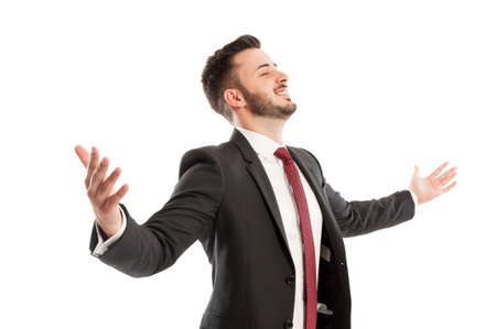 spreading arms: Successful business man spreading arms Stock Photo