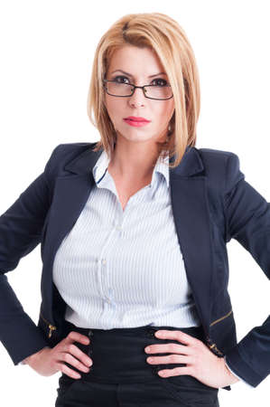 bossy: Blonde and bossy business woman with hands on her hips