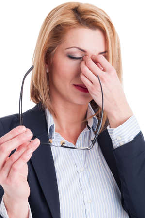 Stressed or tired from reading business woman concept on white background Standard-Bild