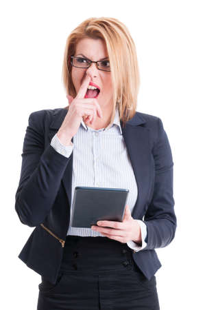 nose picking: Crazy and funny business woman sticking finger in the nose making fun of competition Stock Photo