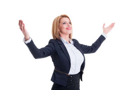 arms open: Successful business woman holding arms open wide and celebrating financial independence Stock Photo