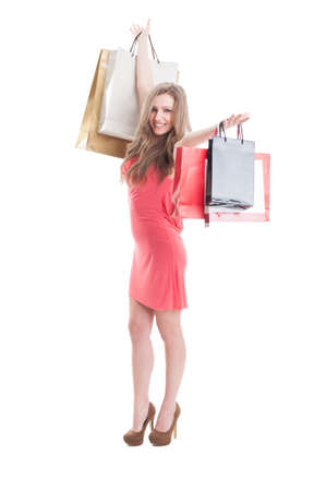 expressing joy: Happy shopping woman expressing joy isolated on white background Stock Photo