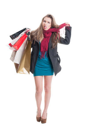 perturbed: Tired shopping woman hanging herself with a scarf Stock Photo