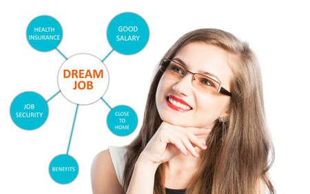 sicurezza sul lavoro: Dream Job con la lista benefici e una giovane donna che pensa alla assicurazione sanitaria, buono stipendio e la sicurezza del lavoro