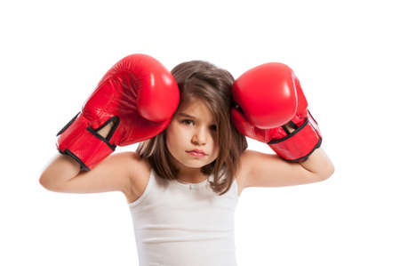pugilist: Young and sad boxer girl wearing red boxing gloves isolated on white background