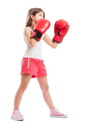 pugilist: Young boxer girl on white studio background