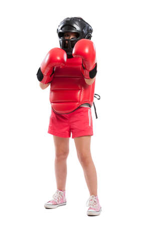 Full body of a young boxer girl with full equipment isolated on white background photo