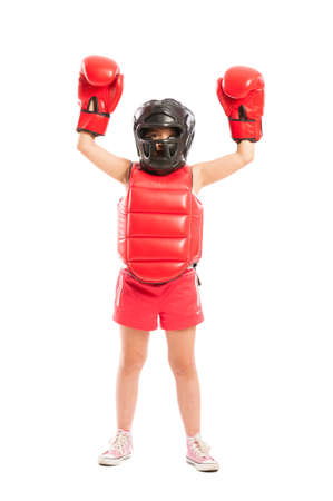 Young and cute boxer girl winner isolated on white studio background photo