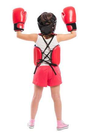 Young boxer girl posing from behind isolated on white studio background photo