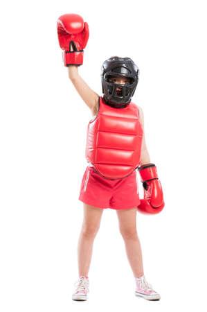 pugilist: Cute boxer girl champion wearing full equipment