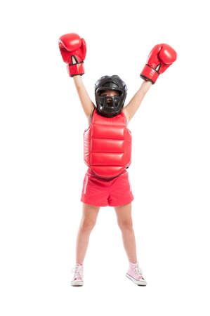 pugilist: Little boxer girl acting like a champion isolated on white background