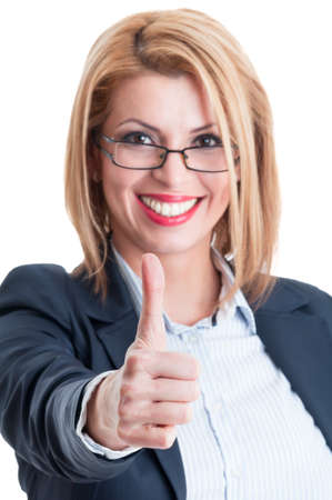 Business lady thumb up. Successful and confident businesswoman concept. photo